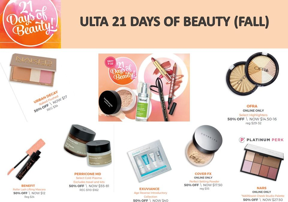 Ulta: 21 Days of Beauty -What's on special today? 9/18/17