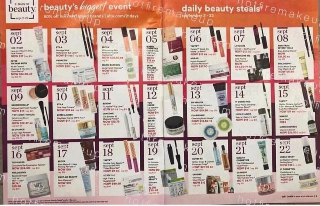 Ulta 21 Days of Beauty 9/2/18 – A glance at the ad