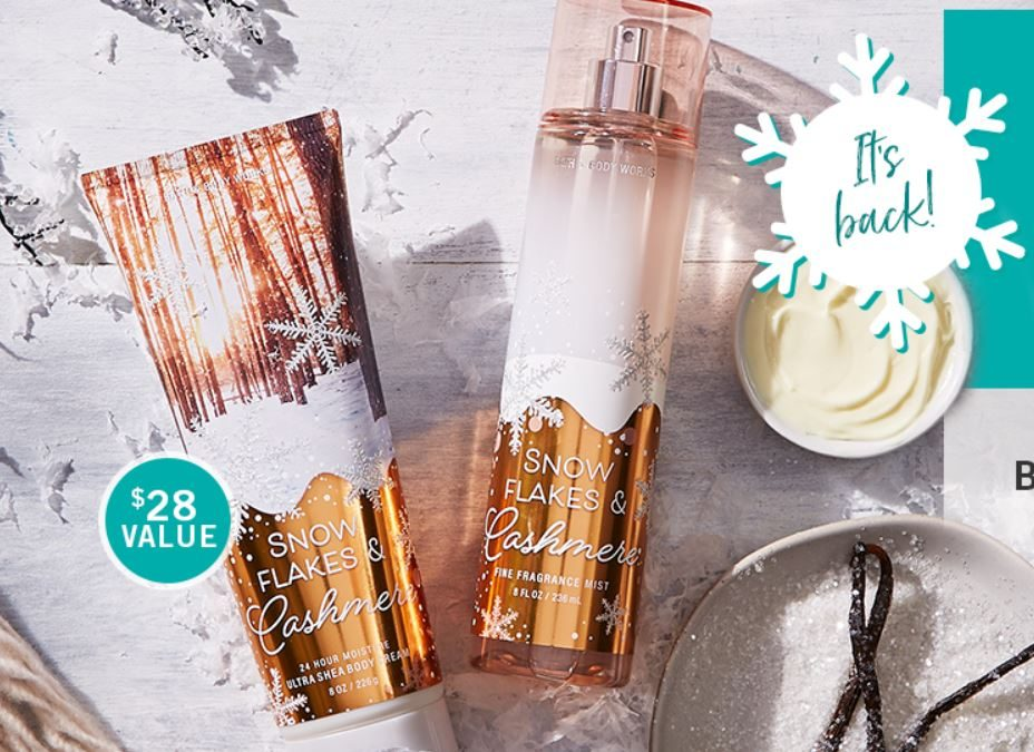 Bath & Body Works FREE Snowflakes & Cashmere (Cream & Mist) Value $28